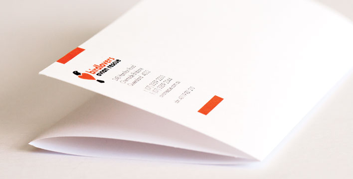 The letterhead for Birdlovers Avian Rescue uses the clean, modern lines from the brand identity on smooth, bright white paper.