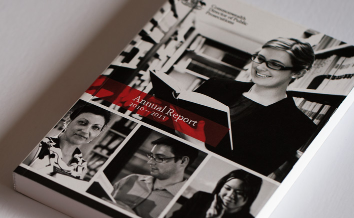 The front cover of the CDPP Annual Report with a vibrant red feature colour and emotive black and white photography of staff from a featured office.