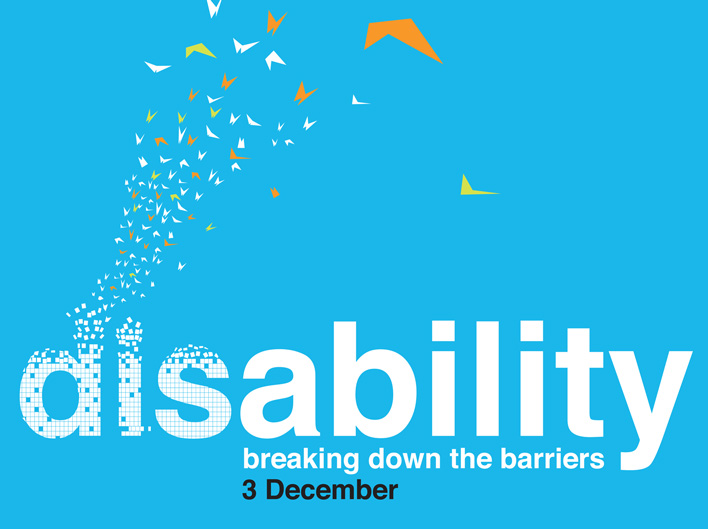 Typography used on one of the posters which reads: disability - breaking down the barriers 3december. The letters d, i and s in disability break into stylised butterflys that fly up and out of the frame of the poster.