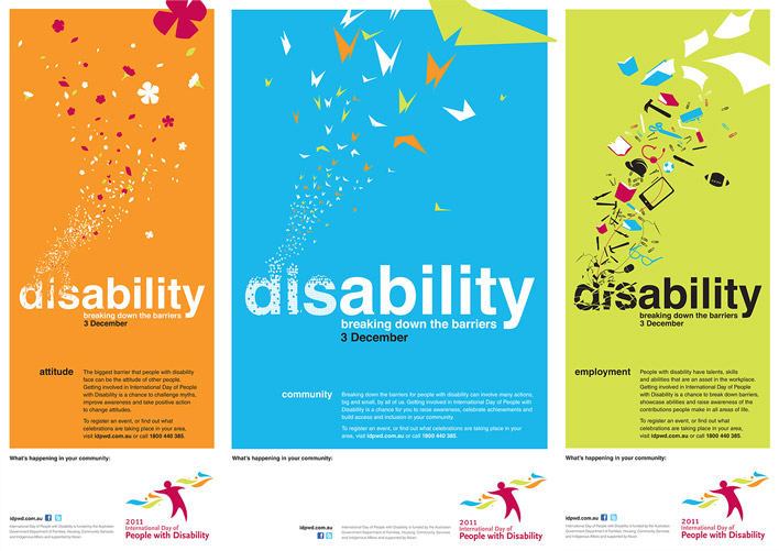 The three posters, each showing a variation of the letters d, i and s in disability break into different elements: into flowers on the poster targeting attitudes, into butterflies on the poster targeting communities, and into work tools on the poster targeting employment.