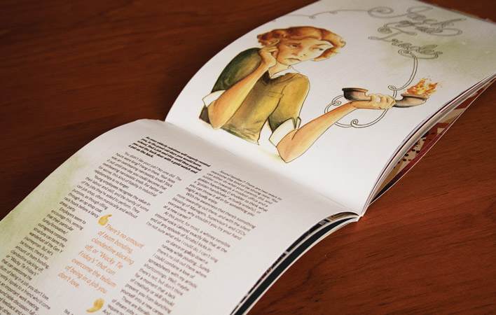 The double-page article spread which reads correctly when turning the magazine side-ways.