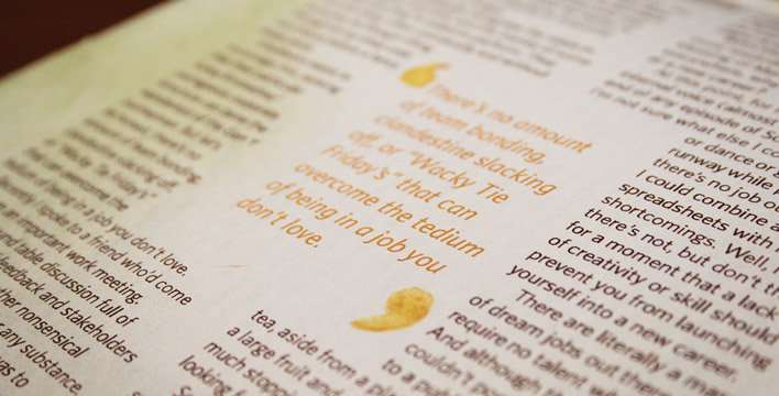 A close up of the pull-quote which uses painted quote marks in the centre of the article.