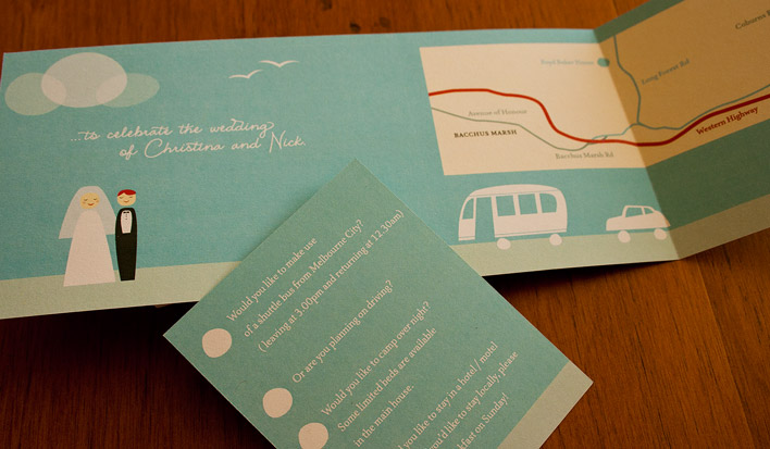 Reverse side of the wedding invitation featuring a stylised illustration of the bride and groom and a map giving directions to the location of the reception. Contained within the invitation is a RSVP slip designed in the same illustration style.