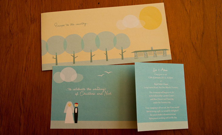 The front and back of the wedding invitation, which had one end folded a third of the way so that the invitation could stand up.